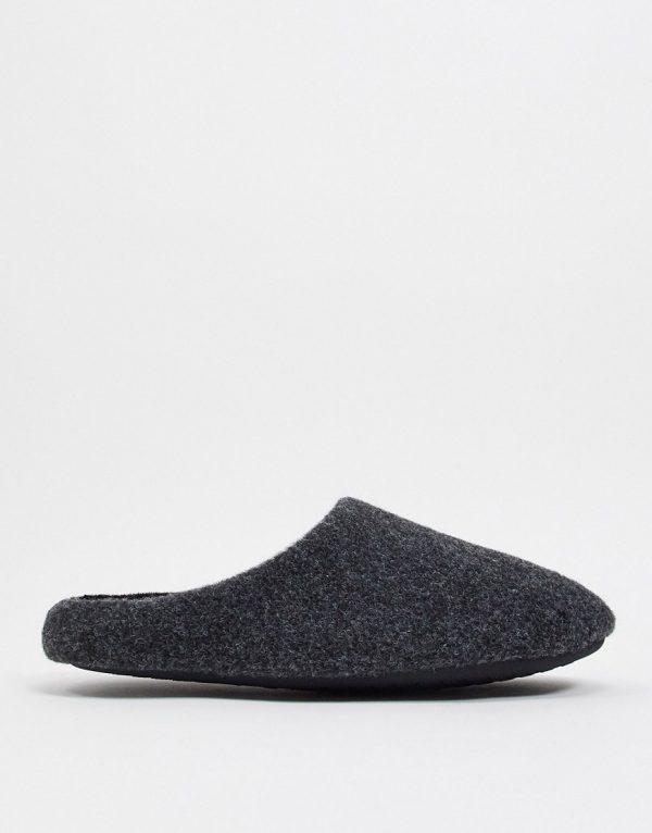 ASOS DESIGN black marl slip-on slippers
