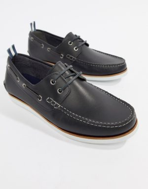 ASOS DESIGN boat shoes in navy leather with white sole