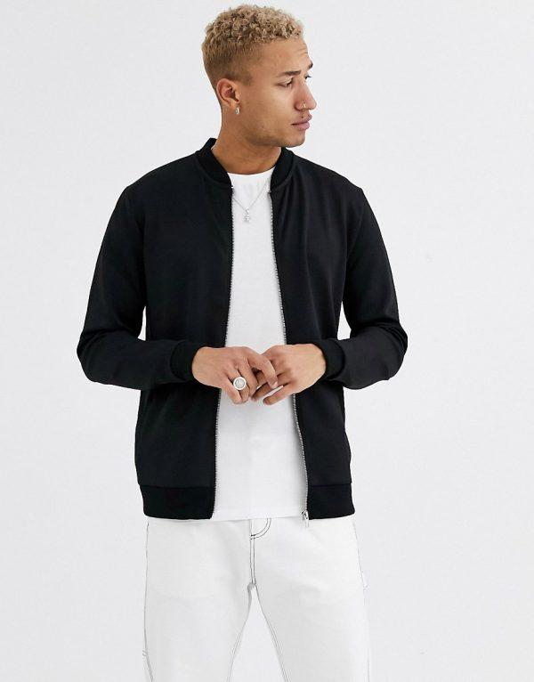ASOS DESIGN bomber jacket in scuba in black