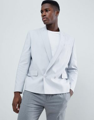 ASOS DESIGN boxy double breasted blazer in ice gray