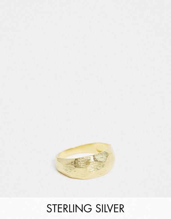 ASOS DESIGN brushed sterling silver ring with raised cutwork in 14k gold plate