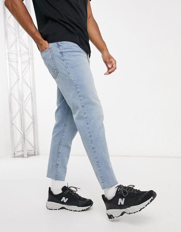 ASOS DESIGN classic rigid jeans in vintage light wash blue with raw hem