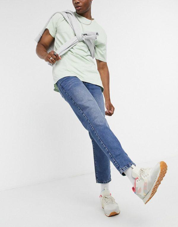 ASOS DESIGN classic rigid jeans in vintage mid wash blue