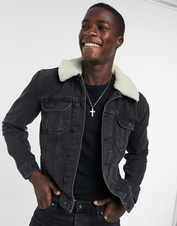 ASOS DESIGN denim jacket in washed black with ecru borg collar