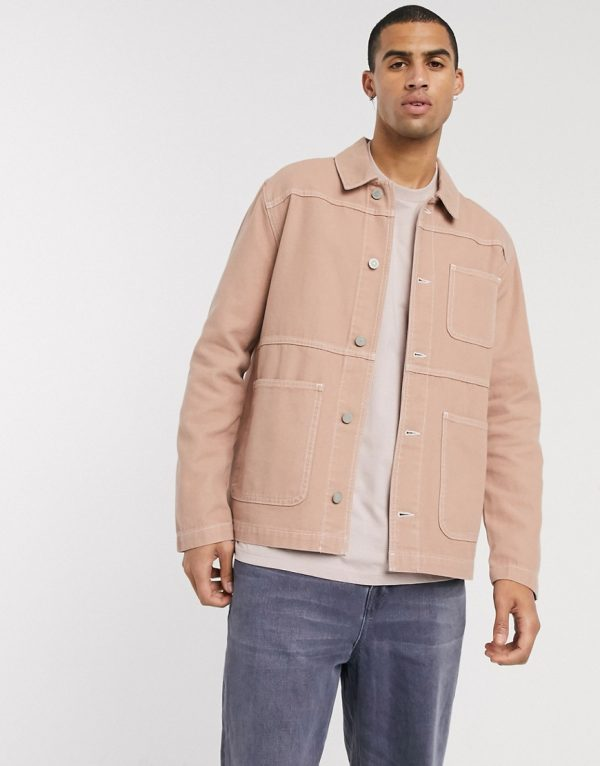 ASOS DESIGN denim shacket in tan with contrast stitch
