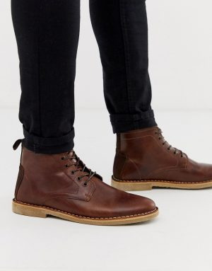 ASOS DESIGN desert chukka boots in tan leather with suede detail