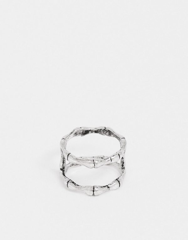 ASOS DESIGN double band ring with bones design in burnished silver tone