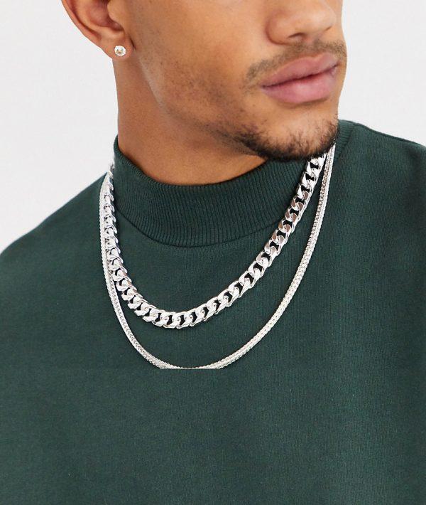 ASOS DESIGN double layer neckchain in silver tone