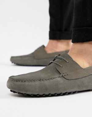 ASOS DESIGN driving shoes in gray suede with lace
