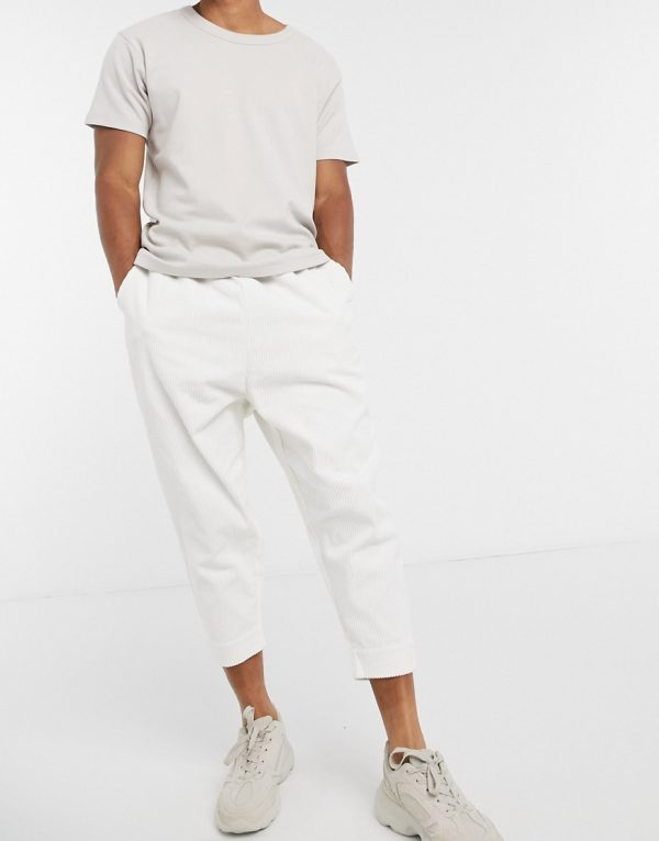 ASOS DESIGN drop crotch cord pants in white