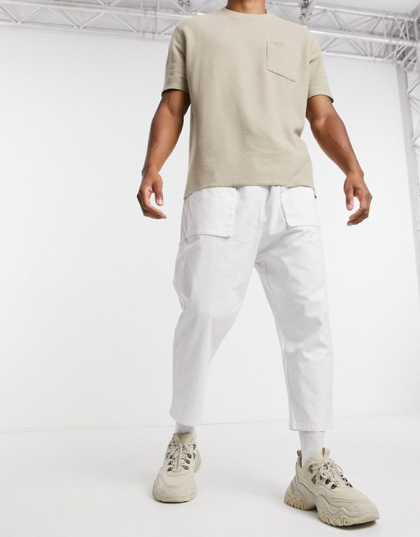 ASOS DESIGN drop crotch pants in white