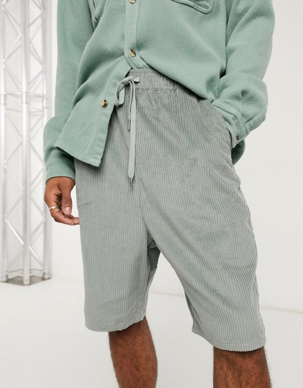ASOS DESIGN drop crotch shorts in blue cord