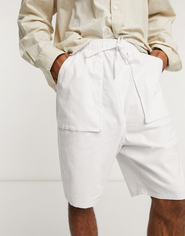 ASOS DESIGN drop crotch shorts in white