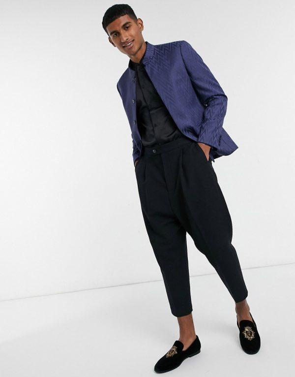 ASOS DESIGN drop crotch skinny smart pants in black