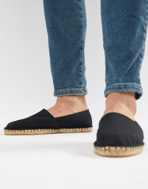 ASOS DESIGN espadrilles in black canvas