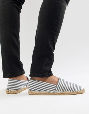 ASOS DESIGN espadrilles in striped canvas-Navy