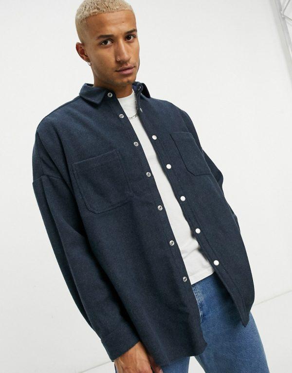 ASOS DESIGN extreme oversized wool mix shirt in blue
