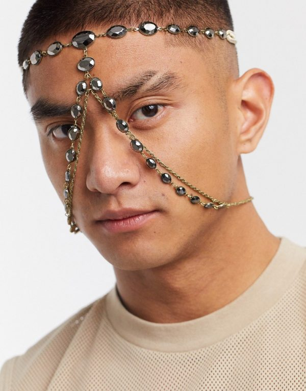 ASOS DESIGN face harness with black stones in burnished gold tone