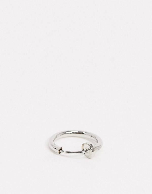 ASOS DESIGN faux 10mm nose ring in silver tone