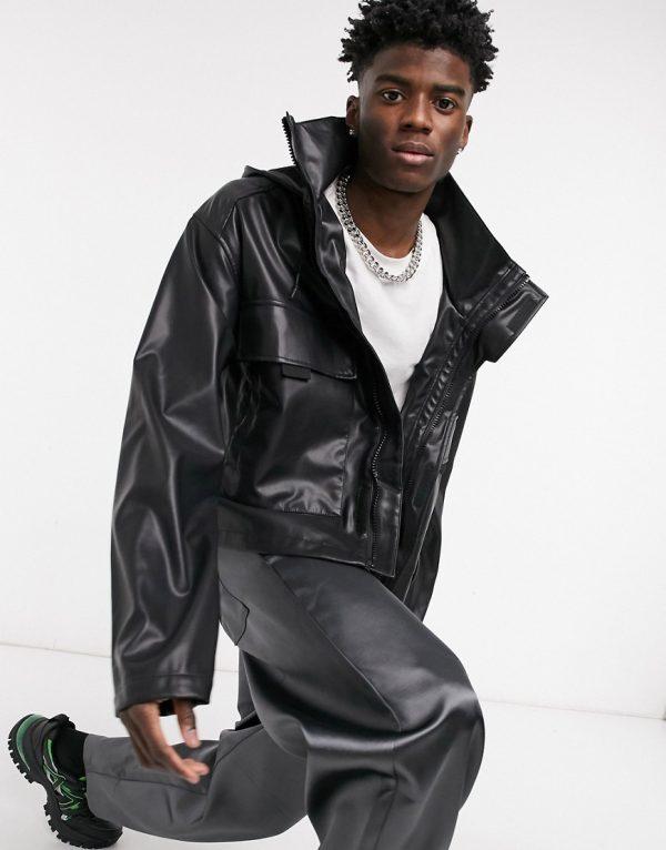 ASOS DESIGN faux leather track jacket in black
