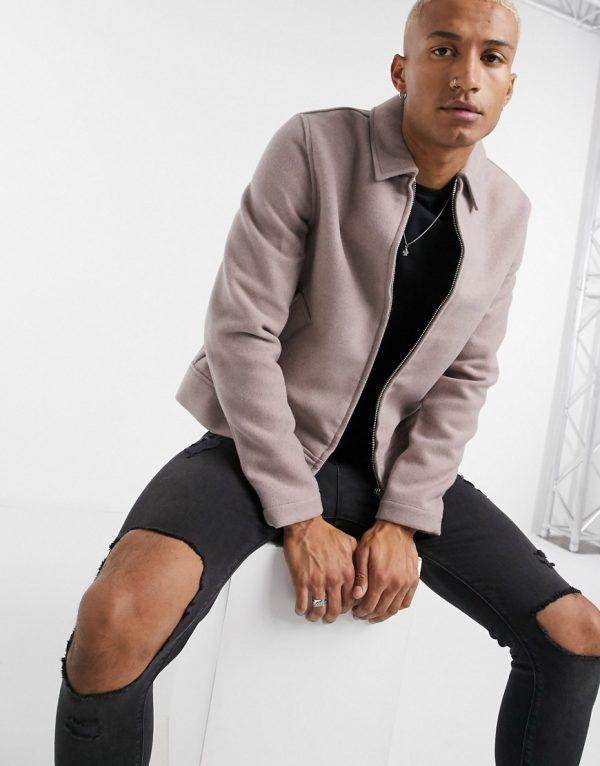 ASOS DESIGN faux wool SHACKET in dusty pink