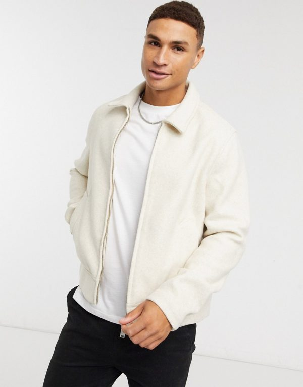 ASOS DESIGN faux wool zip though shacket in off white-Beige