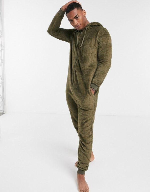 ASOS DESIGN fleece onesie in khaki-Green