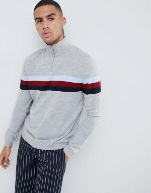ASOS DESIGN half zip color block sweater in gray-Multi