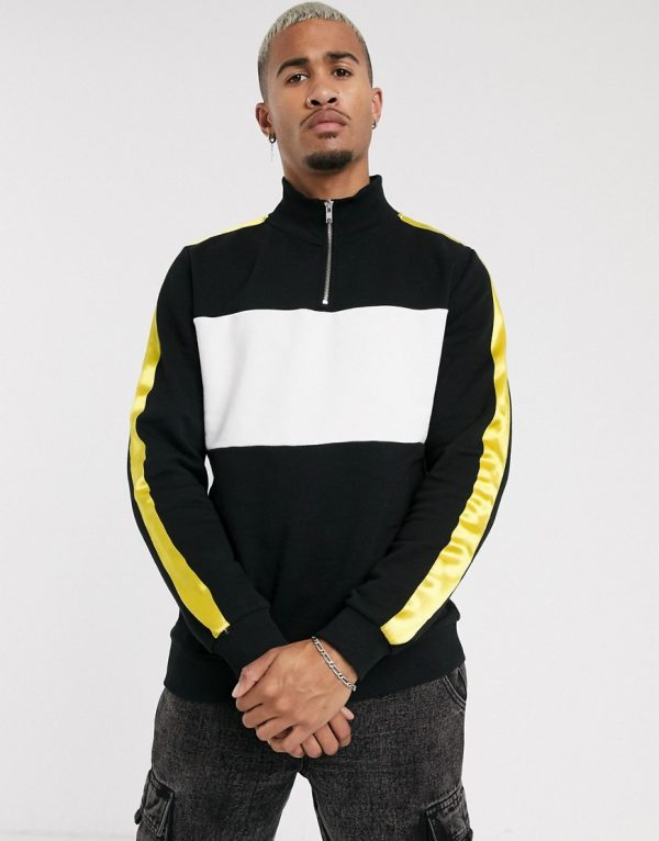 ASOS DESIGN half zip sweatshirt with color block panel in black / white & yellow