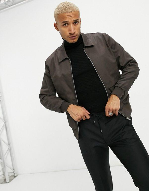 ASOS DESIGN harrington jacket with storm vent in brown