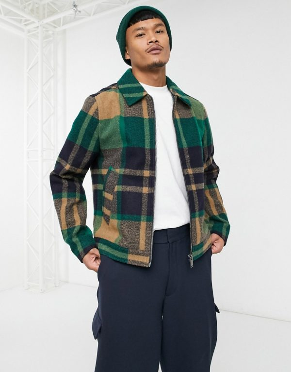 ASOS DESIGN harrington shacket in green check with zip through