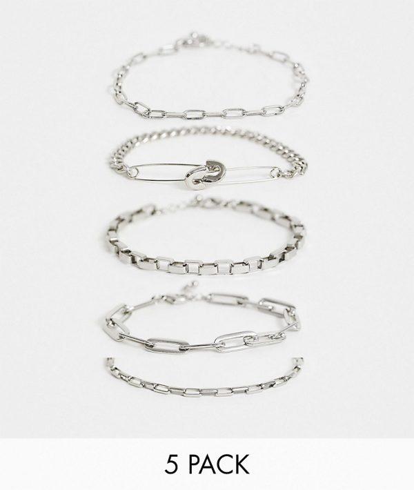 ASOS DESIGN industrial chains bracelet pack-Silver