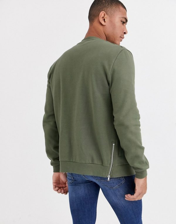 ASOS DESIGN jersey bomber jacket in khaki with side zips-Green