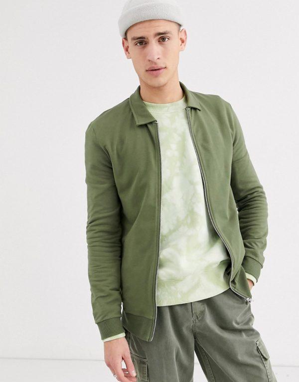 ASOS DESIGN jersey muscle harrington jacket in khaki-Green