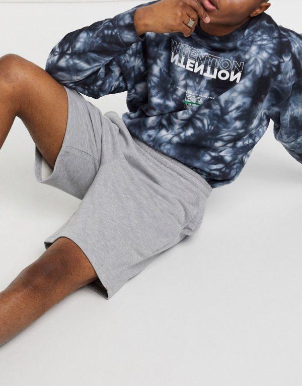 ASOS DESIGN jersey oversized shorts in gray marl