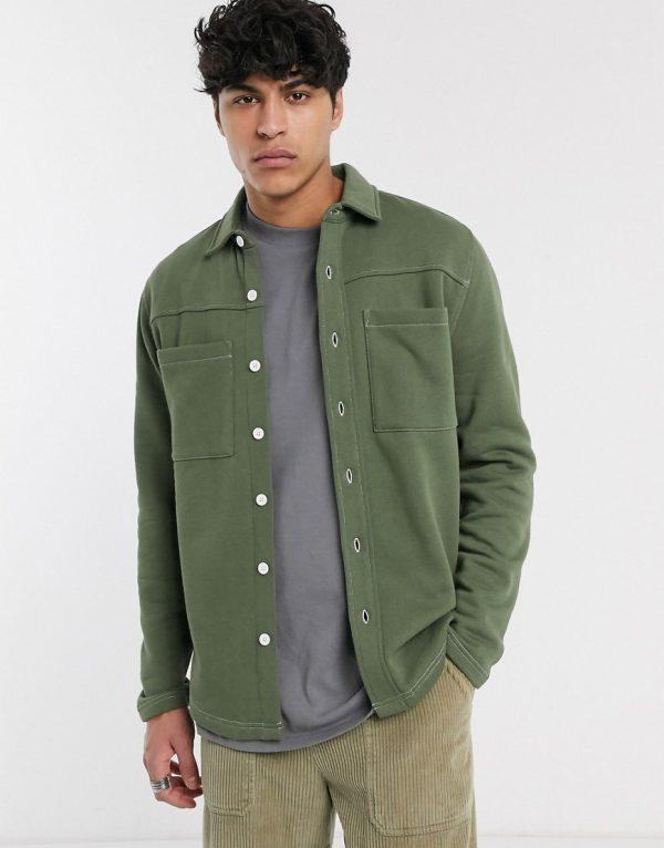 ASOS DESIGN jersey shacket in khaki-Green