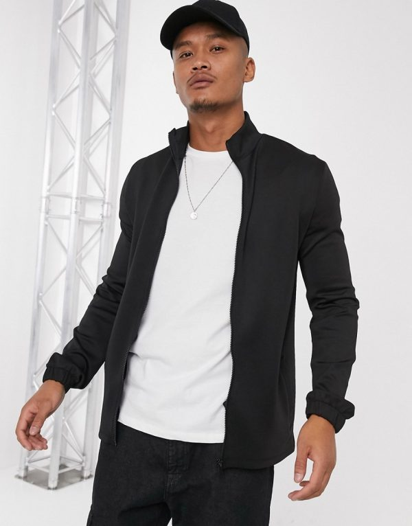 ASOS DESIGN jersey track jacket in scuba fabric in black
