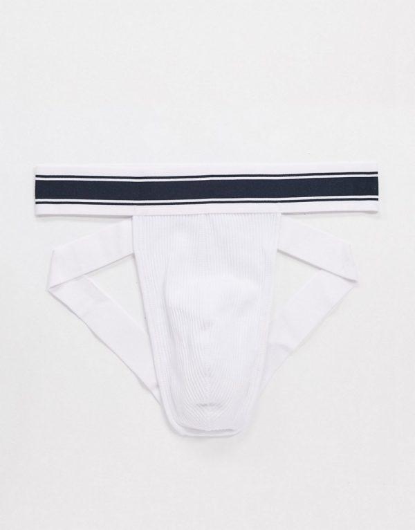 ASOS DESIGN jock strap with sports waistband-White