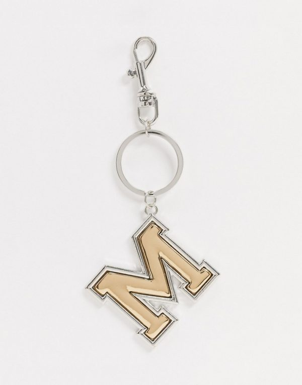 ASOS DESIGN key chain in letter 'M' design in silver and gold tone-Multi