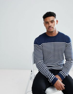 ASOS DESIGN knitted breton stripe sweater in navy