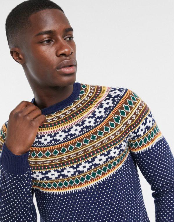ASOS DESIGN knitted midweight yoke fairisle sweater in navy