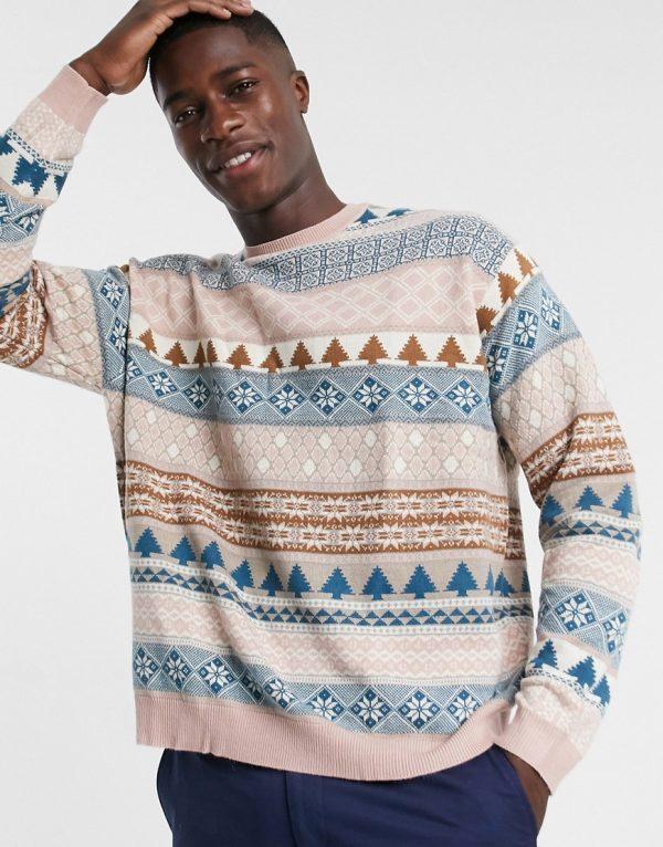 ASOS DESIGN knitted oversized fairilse design sweater in lilac-Purple