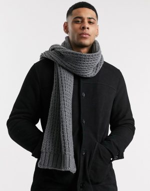 ASOS DESIGN knitted scarf in gray