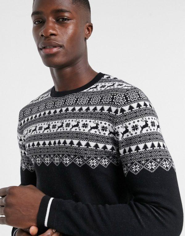 ASOS DESIGN knitted yoke fairisle sweater in black
