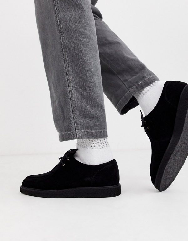 ASOS DESIGN lace up shoes in black suede with black sole