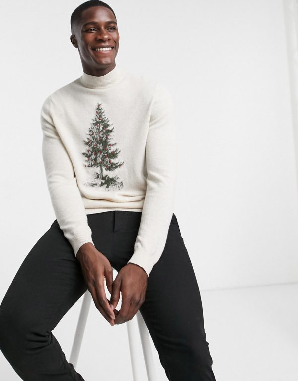 ASOS DESIGN lambswool roll neck sweater with christmas tree embroidery-Beige