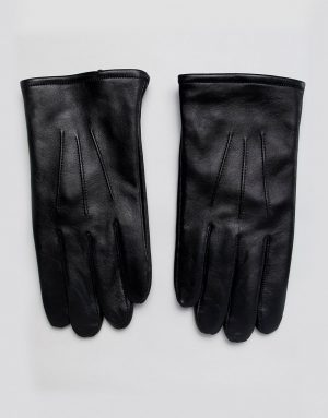 ASOS DESIGN leather touchscreen gloves in black