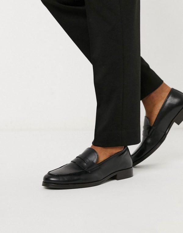 ASOS DESIGN loafer in black leather