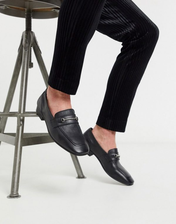 ASOS DESIGN loafer in black leather with square toe