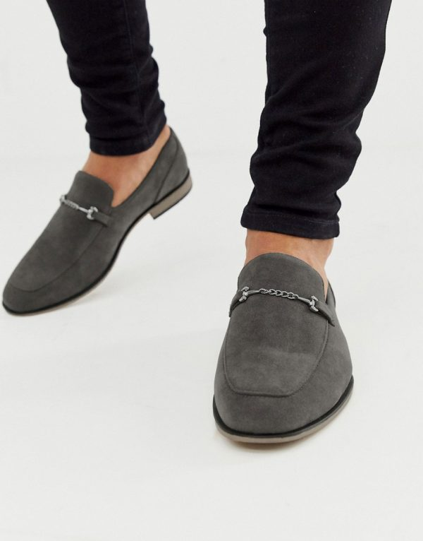 ASOS DESIGN loafers in gray faux suede with snaffle detail and black sole